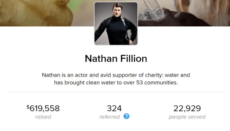 영화배우 Nathan Fillion Charity Water 생일 캠페인 누적 모금액