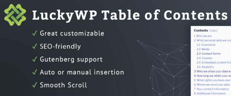 워드레스 목차 플러그인 LuckyWP Table of Contents