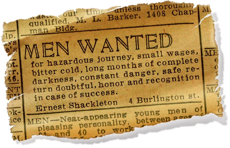 탐험가 어니스트 새글턴의 남극 탐험대원 모집 광고