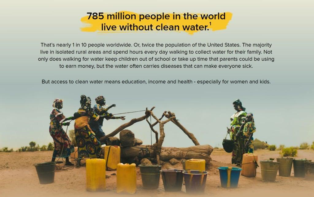 Charity Water 사이트 중 소개 페이지예