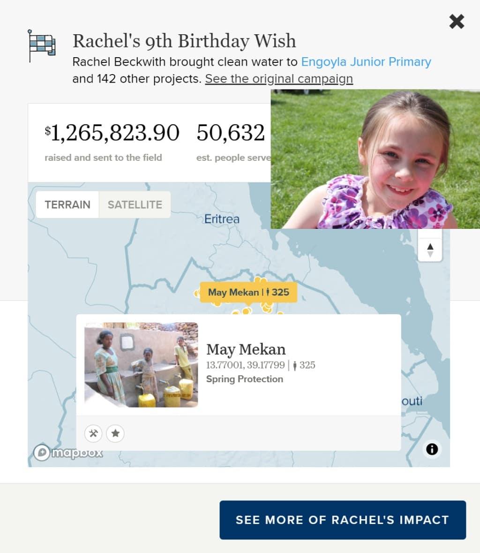 Charity Water 생일 캠페인 Rachel Beckwith 9살 생일 캠페인 모금액