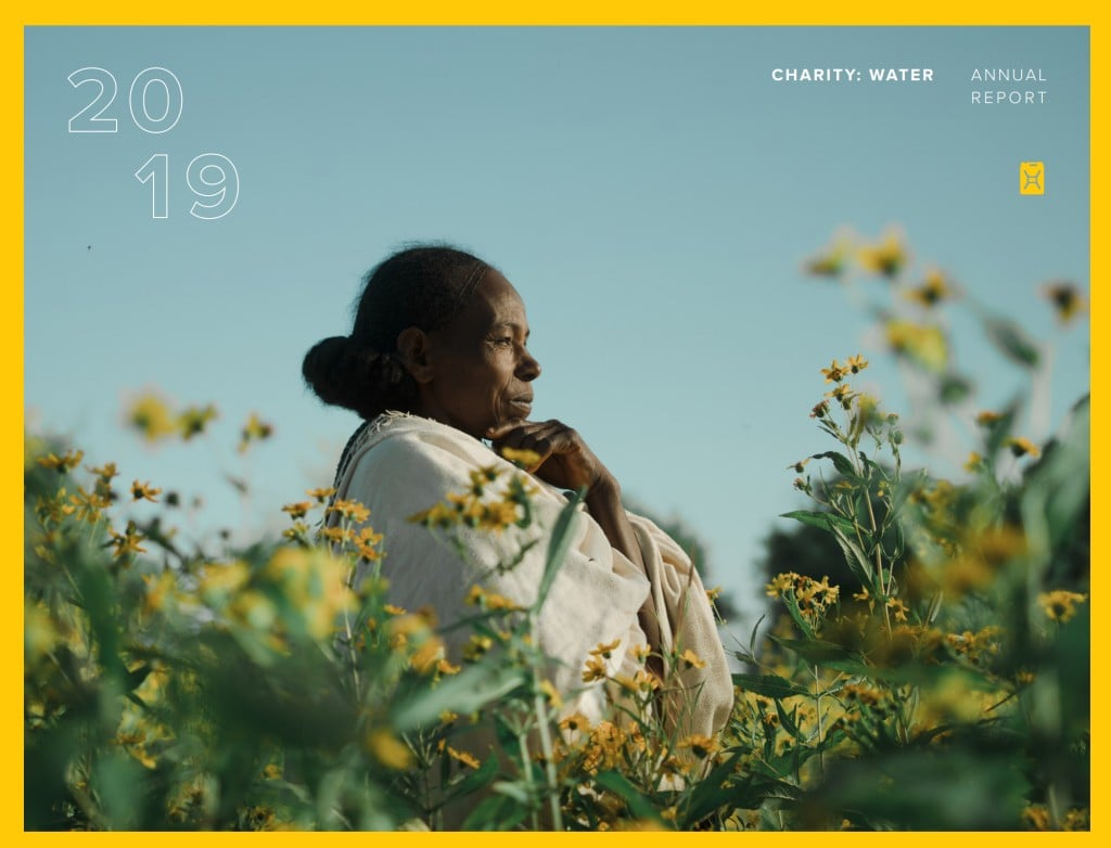 Charity Water 연간 보고소 표지, Annual Report cover page