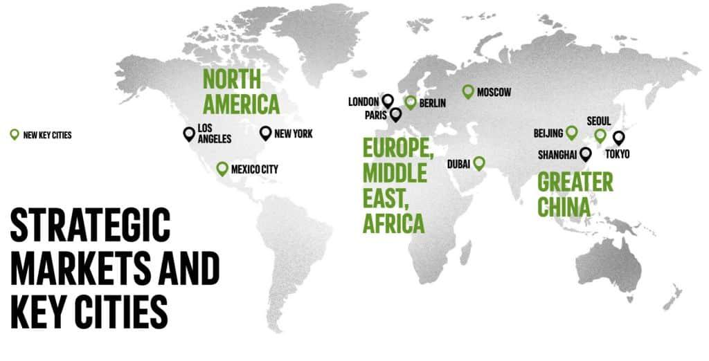 아디다스 전략, 아디다스 전략 시장 및  공략 핵심 도시, Adidas strategic markets & key cities