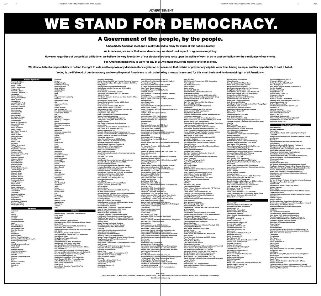 미 공화당의 부재자 투표 시 제한 조항 추가에 반대한 기업들의 반대 성명을 뉴욕타임지와 워싱터 포슽에 게재.We Stand for Democracy, 2021 Democracy ad 1024x887