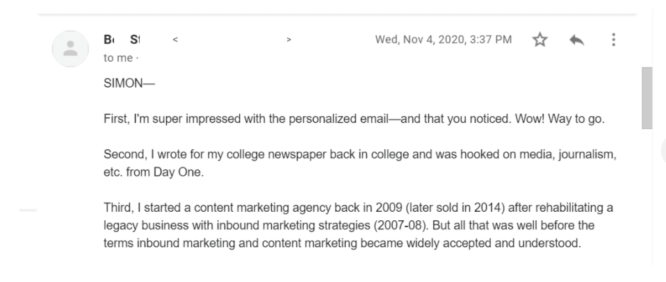 사이먼 오웬 뉴스레터, 유료 가입자에게 보낸 개인 메일에 대한 구독자의 반응