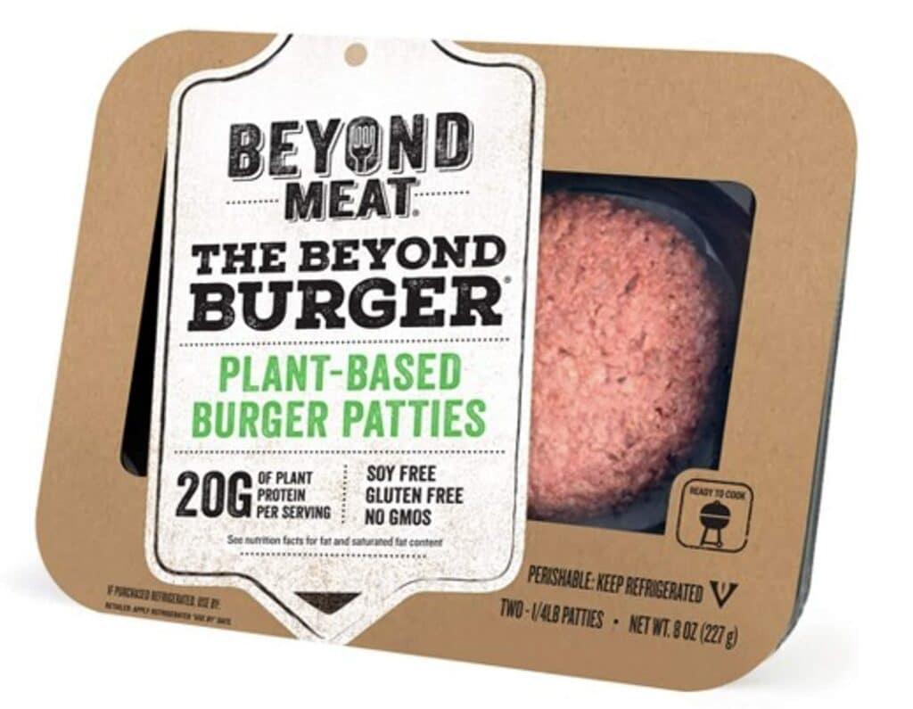 세계 최초 식물성 대체육 버거라고 광고하는 비욘드미트 버거, Beyon meat Bueger