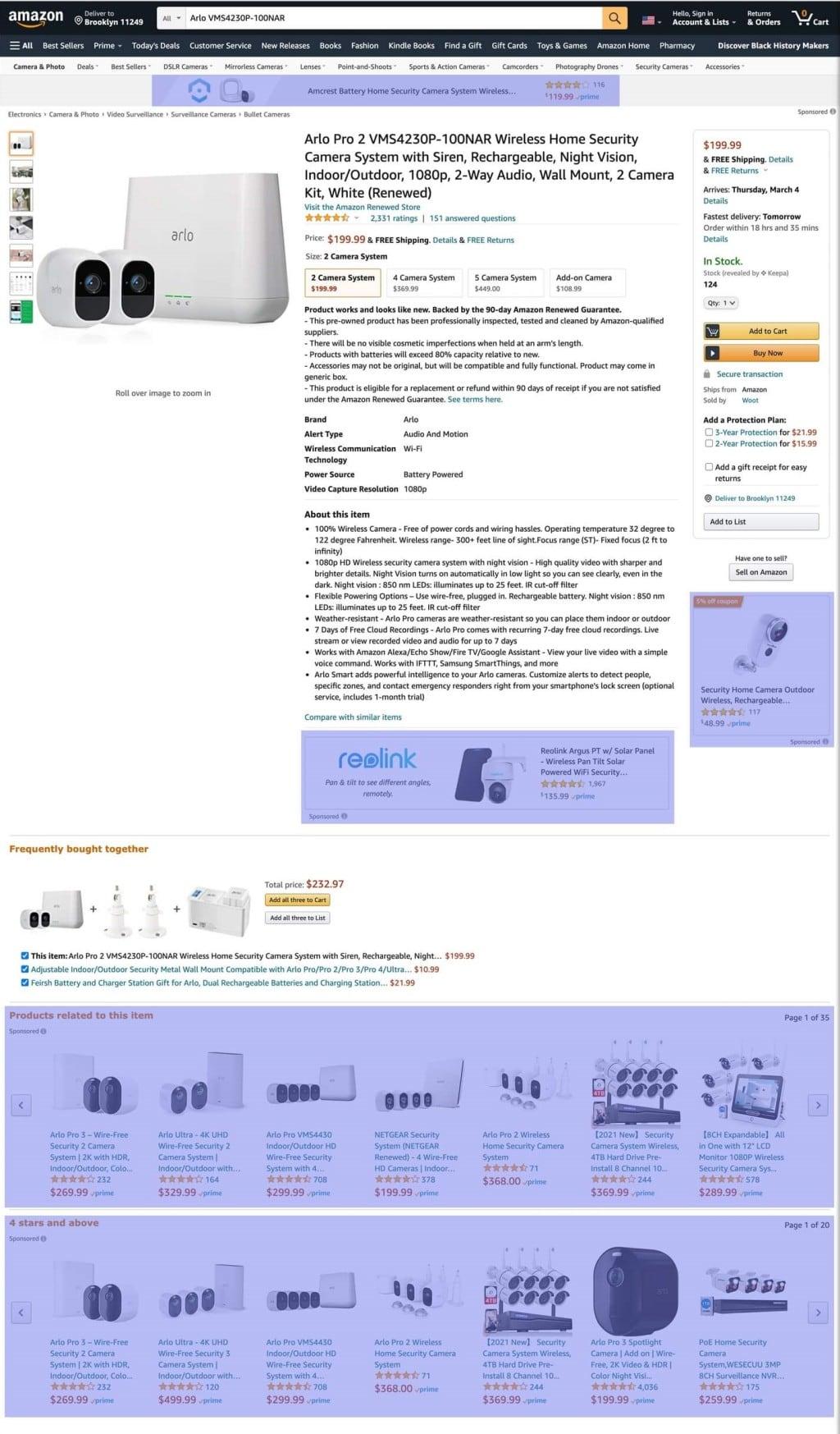 아마존닷컴 상품 페이지에서 광고 현황, amazon ads in product page browser