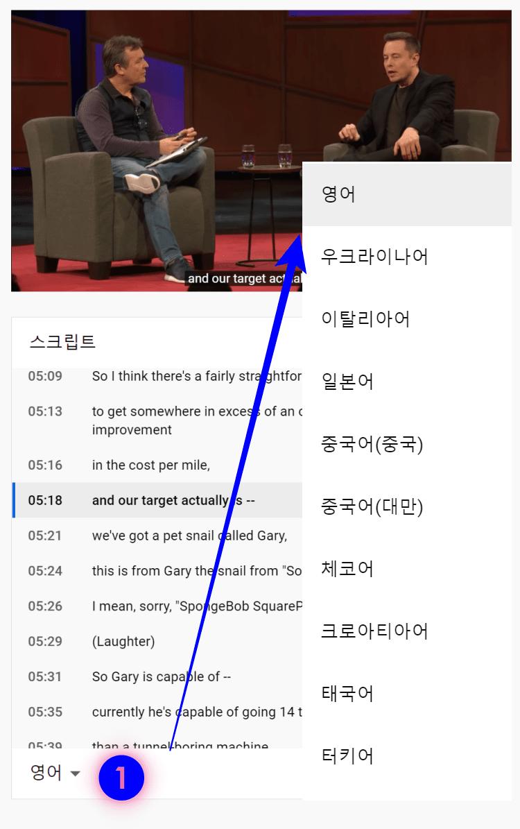 유튜브 자막 다운로드 방법, 스크립트에서 자막 언어 바꾸기