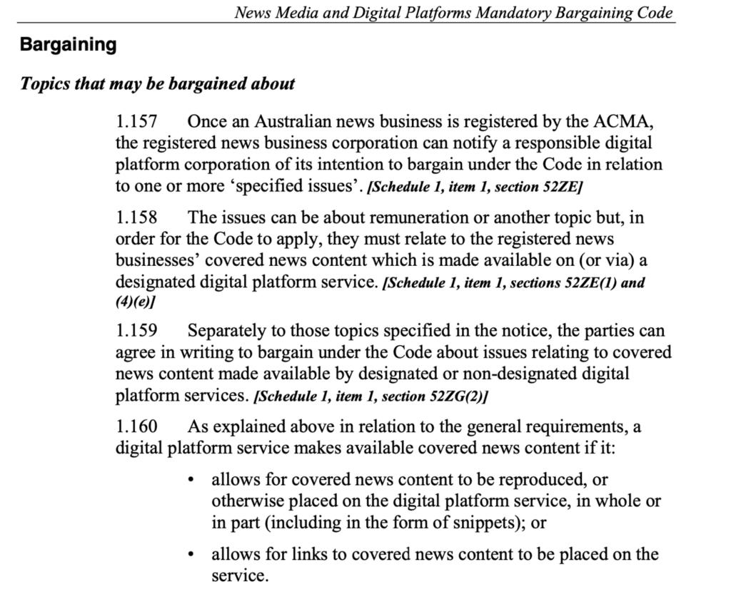 최근 호주에서 통과된 뉴스 링크 지불 법안,스니펫이나 미리보기를 다루고는 있지만 오직 링크만 포함하고 있다, The Australian bill. Snippets and previews are covered, but so are links alone