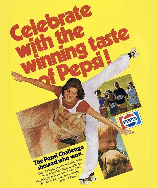 1979년 펩시 챌린지 광고, Pepsi Challenge print ad 1979, Image from Design Shack
