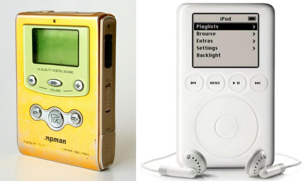 1998년 출시된 MPMan MP-F60 & 2001년 출시된 iPod 1세대(iPod 1st Generation), Image from Wikipedia & CNET