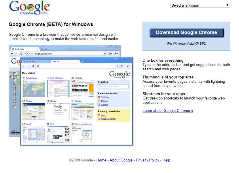 2008년 구글 크롬 베타버젼, google chrome website 2008