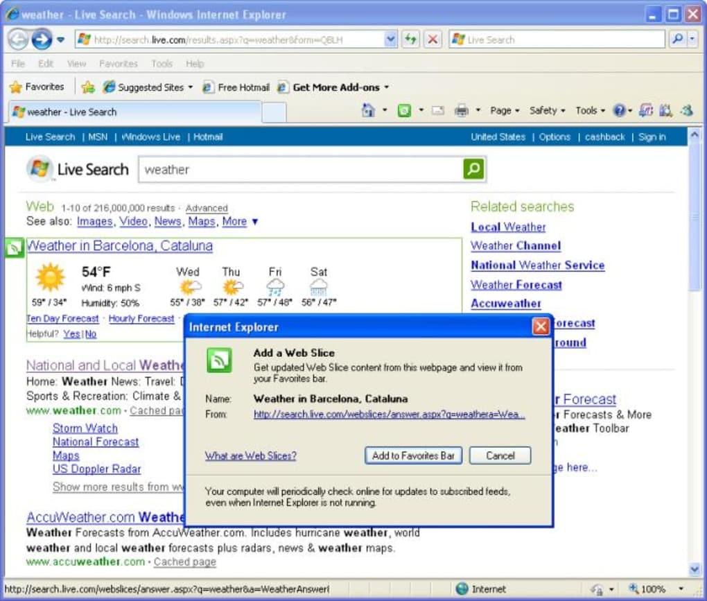 Internet Explorer 8, 2009, Image from Softonic