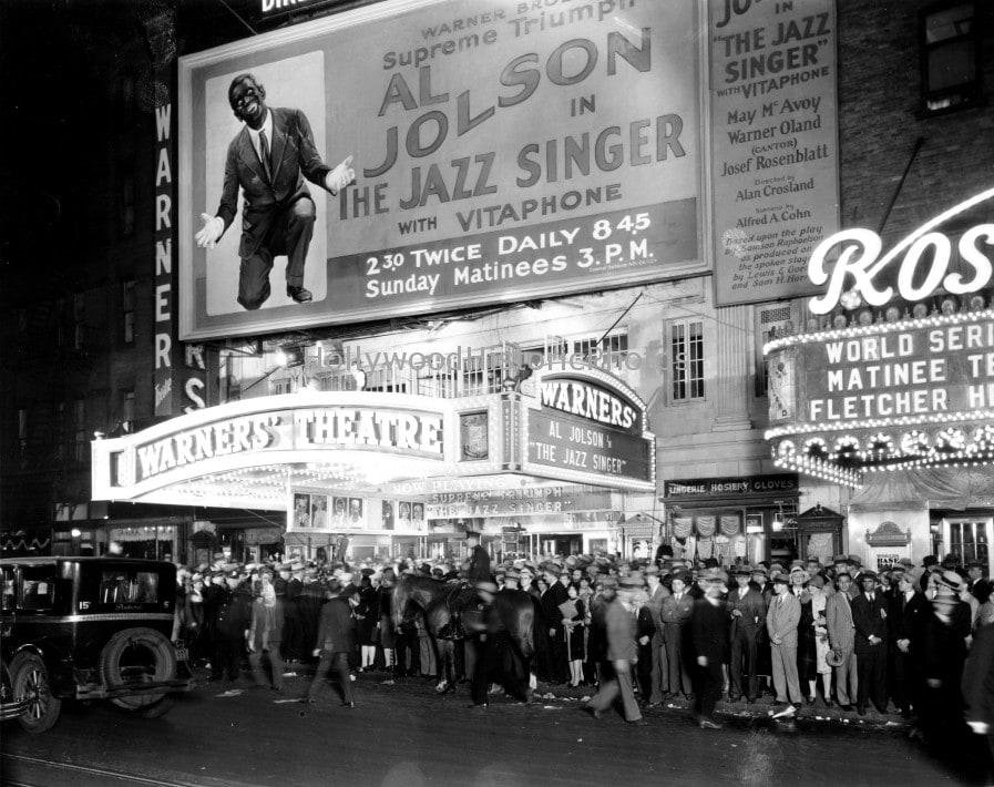 1927년 최초 유성영화 재즈 싱어 상영 극장, warners theatre New York city 1927 premiere the jazz singer