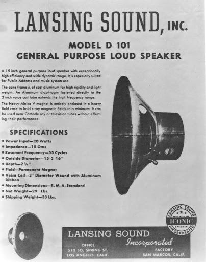 JBL 첫번째 제품인 D101 광고
