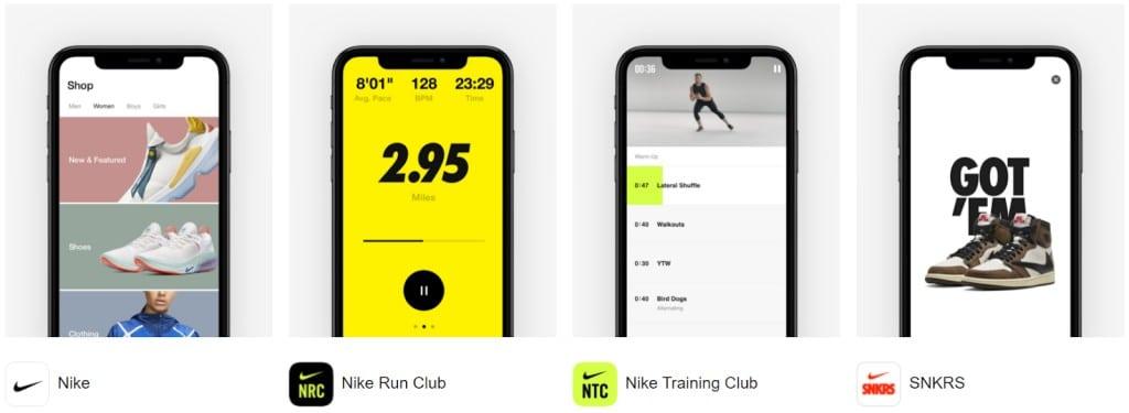 나이키 멤버쉽으로 접속 가능한 다양한 나이키 앱, Nike apps