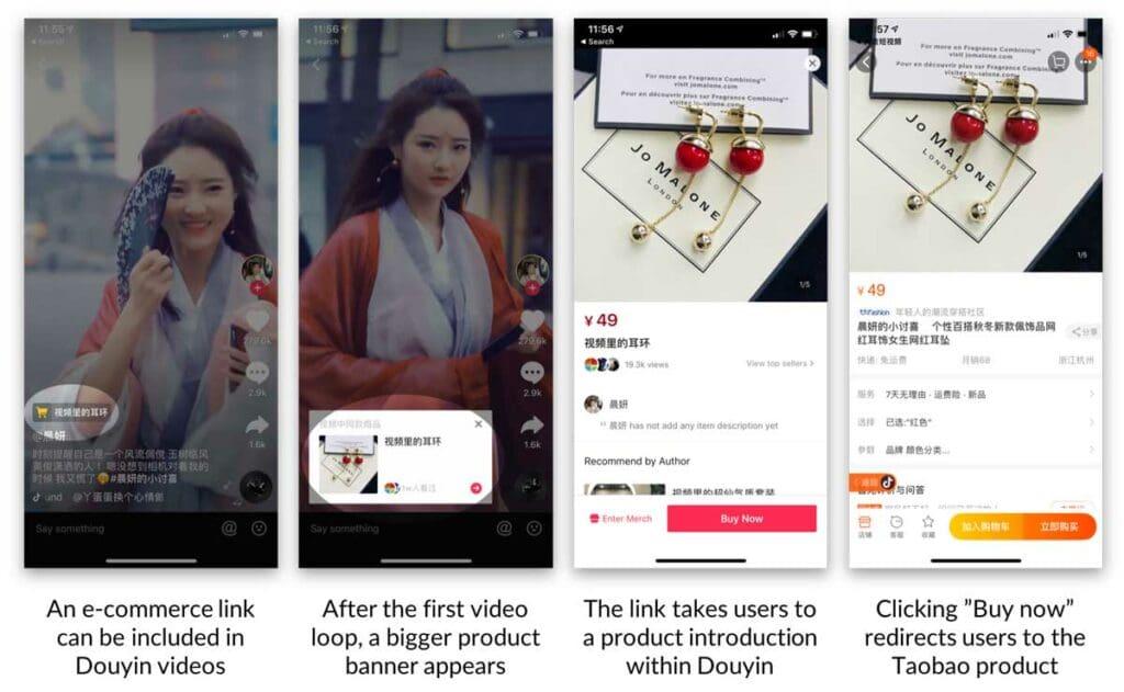 더우인 비디오와 중국 쇼핑몰 타오바오를 연결한 온라인쇼핑 방법, douyin shopping, Image from walkthechat