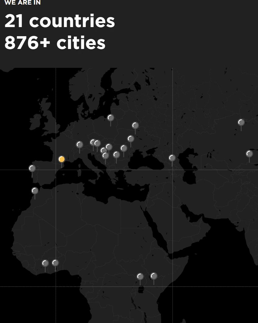 스페인 Glovo 사업 국가 및 도시