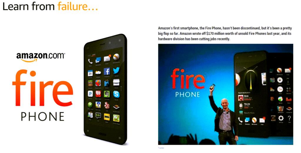 아마존 문화, 실패로부터 배운다, 아마존 파이어폰 사례, Amazon fire phone