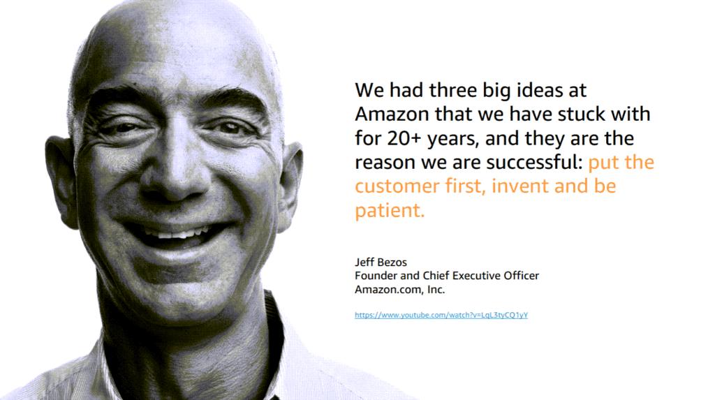 제프 베조스가 생각하는 아마존 성공 비결은 '고객을 최우선으로 두고, 끊임없이 발명하고, 인내하는 것'