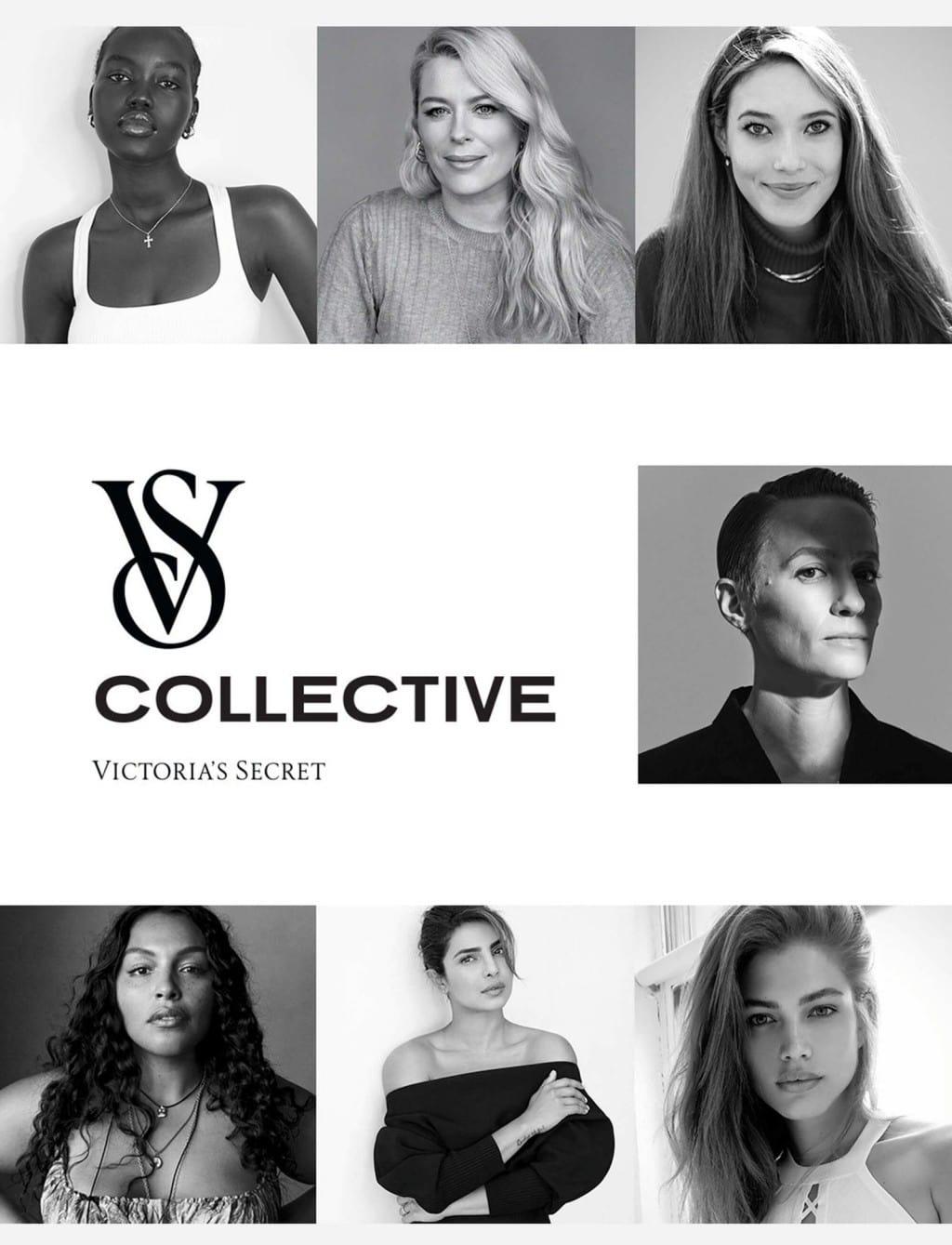 Victoria 's Secret Angels를 대체하는 VS Collective, 평등 운동가 Amanda de Cadet, 신체 옹호자 Paloma Elsesser 및 LGBTQ + 활동가 Valentina Sampaio 등이 포된 특징을 보여준다, Image from Victoria's Secret
