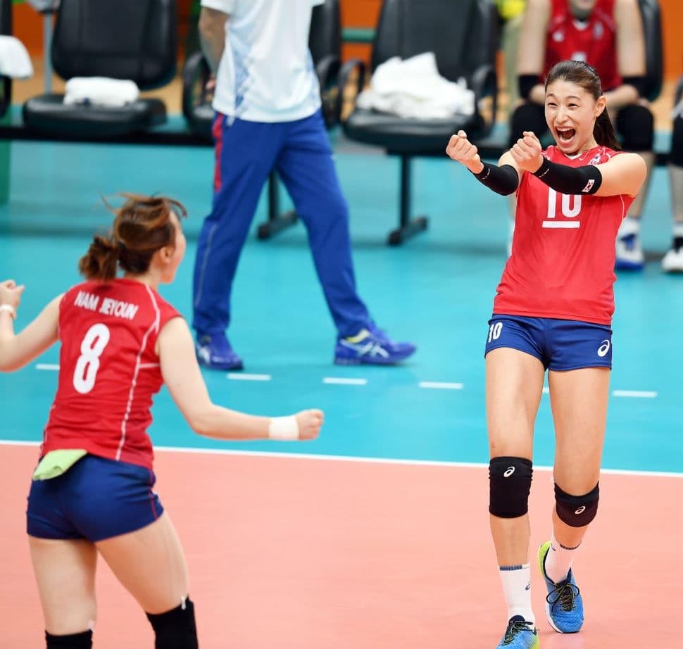 2016년 8월 6일 2016 리우올림픽 여자배구 조별예선 1차전 일본과이 경기에서 득점후 기뻐하는 김연경, 이미지 올림픽사진 공동취재단
